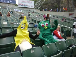 2011_Hong_Kong_Rugby_Sevens,_Gumby_and_Banana_resting_before_the_matches_begin